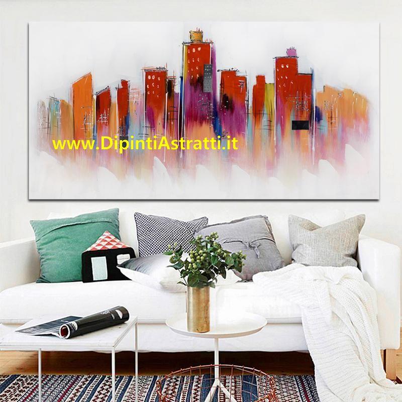 Quadro moderno grattacieli astratti rossi dipintiastratti for Quadri astratti rossi