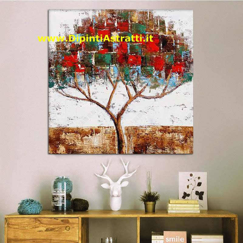 Quadri moderni albero patchwork dipintiastratti for Dipinti figurativi moderni