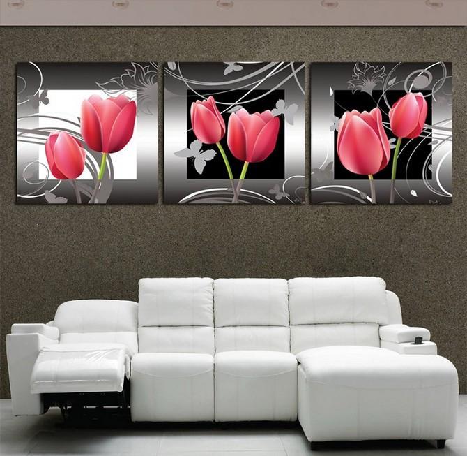 Quadri su tela tulipani rosa dipintiastratti - Ikea quadri su tela ...