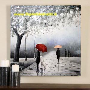 quadro moderno innamorati sotto ombrello